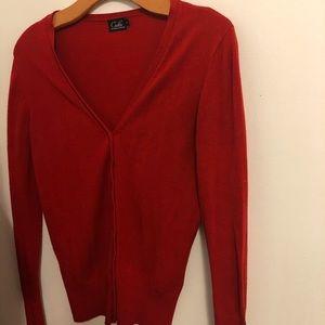 Classic red cardigan
